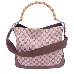 Authentic GUCCI hobo bag with natural bamboo